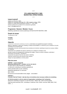 SYLLABUS MASTER 2 CMS : MARKETING