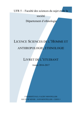 licence sciences de l`homme et anthropologie, ethnologie
