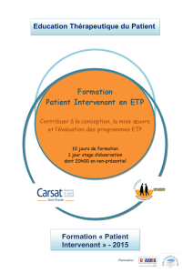 Education Thérapeutique du Patient Formation « Patient Intervenant