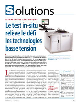 Le test in-situ relève le défi les technologies basse tension