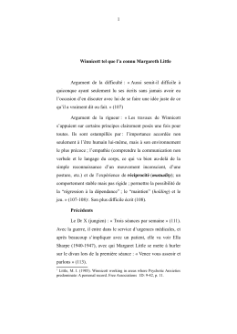 Winnicott tel que l`a connu Margaret Little