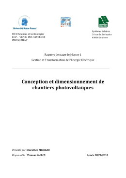 Rapport Stage Conception et dimensionnement