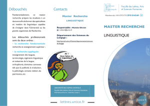 Plaquette Master Linguistique - Université Nice Sophia Antipolis
