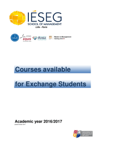 Courses available for exchange students 2016-17