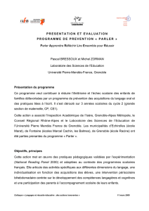 PRESENTATION ET EVALUATION PROGRAMME DE