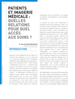 Patients et imagerie médicale.Dr DELESALLE