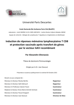 Université Paris Descartes Induction de réponses mémoires