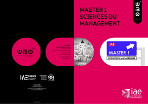 MASTER 1 SCIENCES DU MANAGEMENT