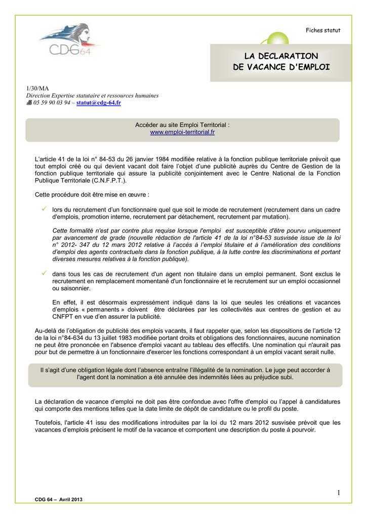 935c8c08ee9 la declaration de vacance d`emploi - Cdg-64