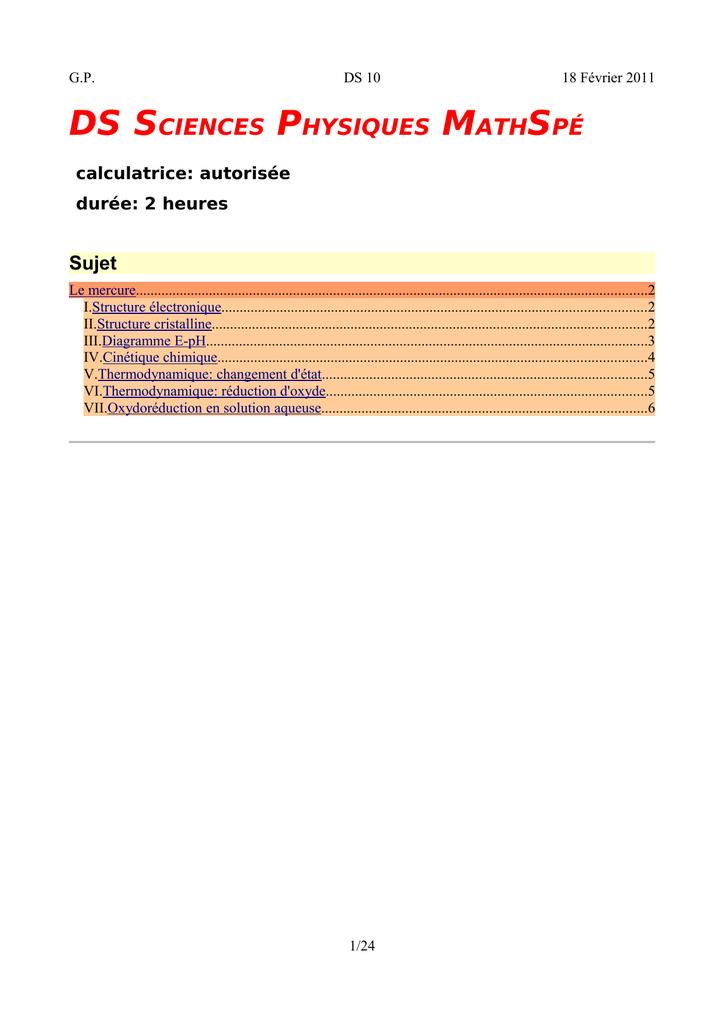 Ds Sciences Physiques Mathsp U00c9
