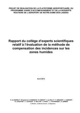 Rapport du college d`experts indépendants