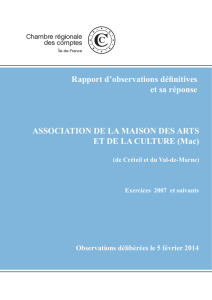 Rapport d`observations définitives