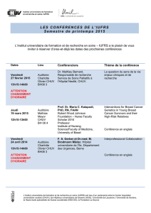 LES CONFERENCES DE L`IUFRS Semestre de printemps 2015