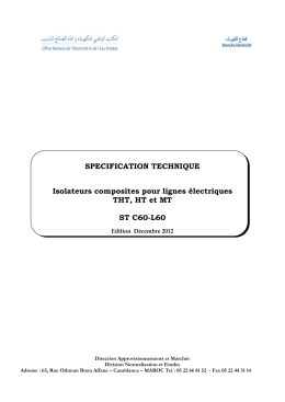 SPECIFICATION TECHNIQUE Isolateurs composites pour lignes