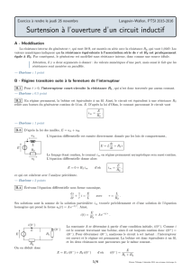 Surtension à l`ouverture d`un circuit inductif