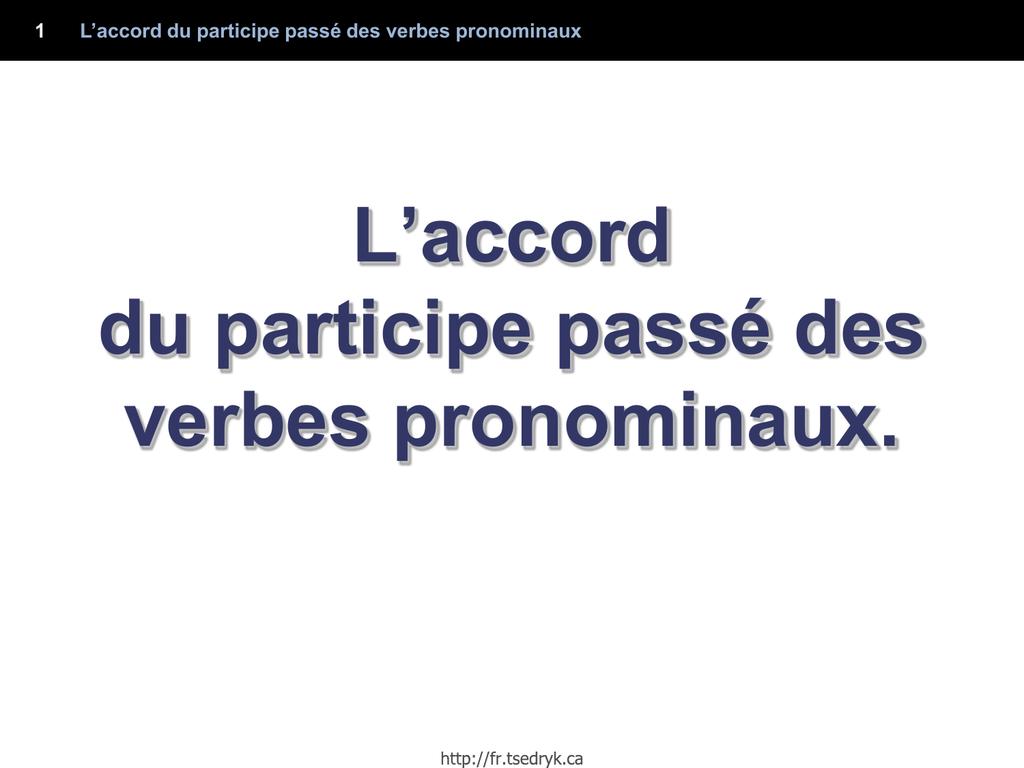 Lˇaccord Du Participe Passe Des Verbes Pronominaux
