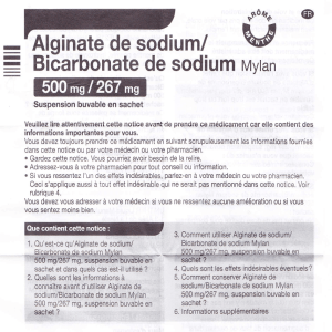 Alginate de sodium/ Bicarbonate de sodium