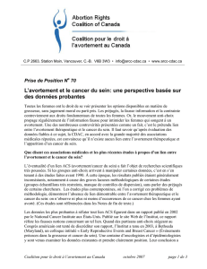 L`avortement et le cancer du sein - Abortion Rights Coalition of