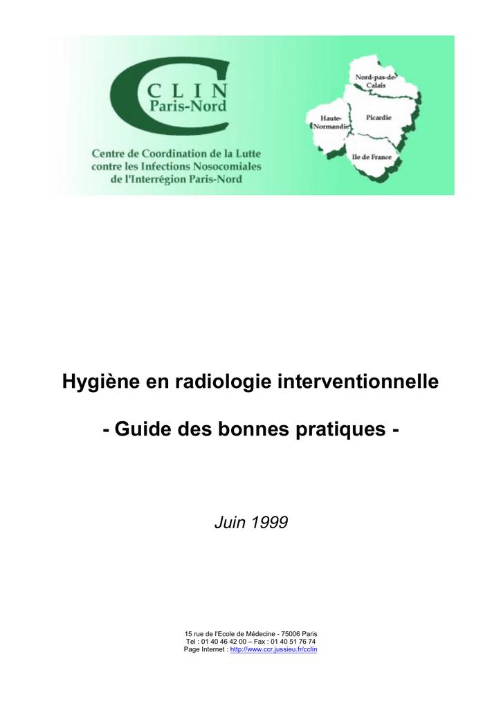 Hygiène Guide Cclin En Paris Nord Radiologie Interventionnelle dshCxtQr