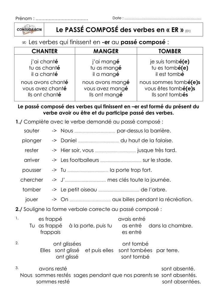 Le Passe Compose Des Verbes En Er 01