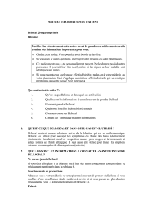 NOTICE : INFORMATION DU PATIENT Bellozal 20 mg comprimés