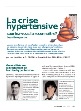 La crise hypertensive - STA HealthCare Communications