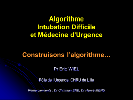 Algorythme intubation difficile en MU - Urgences