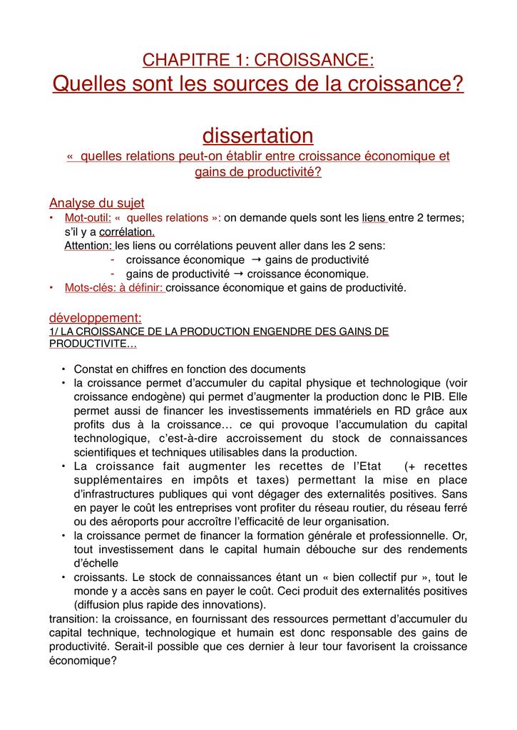 Croissance development dissertation