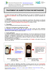 TRAITEMENT DE SUBSTITUTION PAR METHADONE