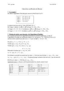 Calcul des coefficients de Bezout