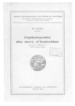 Cephalopodes des mers d`Indochine