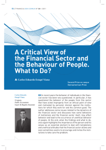 A Critical View of the Financial Sector and the Behaviour of People