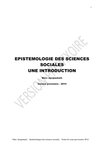 epistemologie des sciences sociales une introduction