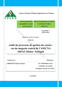 Audit du processus de gestion des stocks