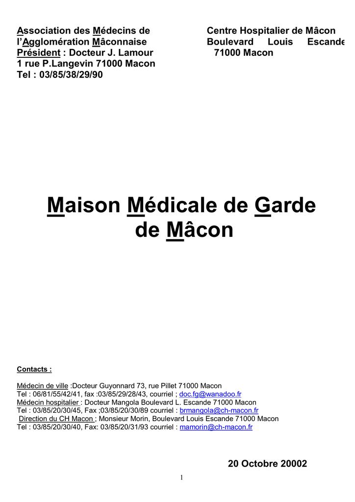Maison Medicale De Garde Macon