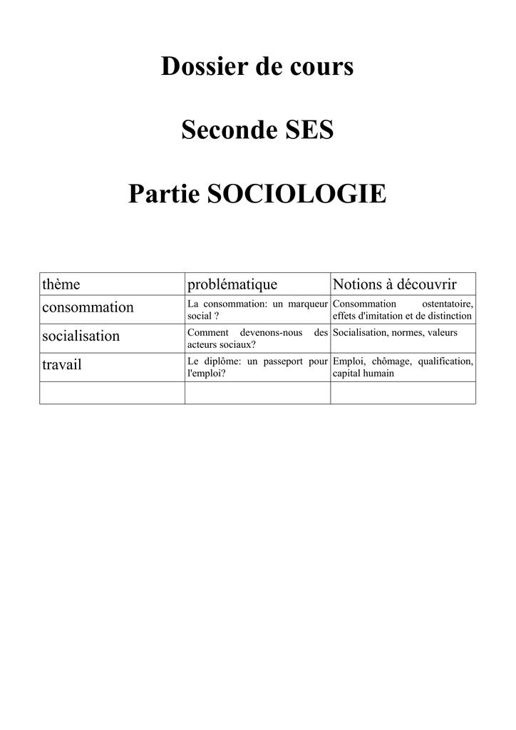 Dossier de cours Seconde SES Partie SOCIOLOGIE