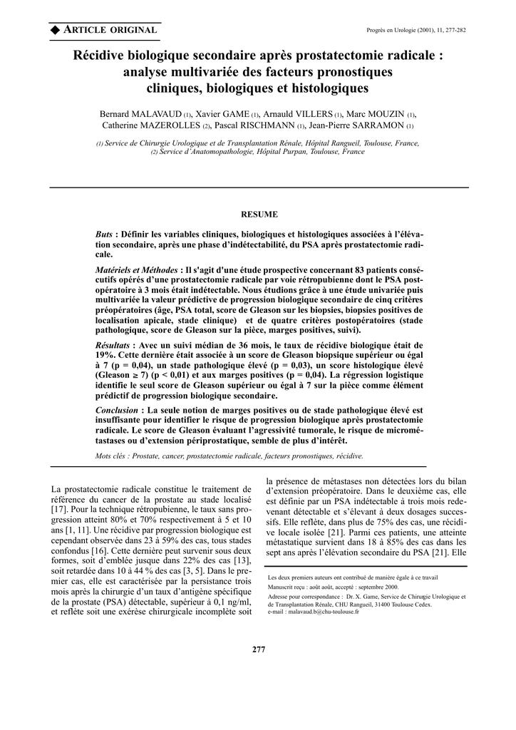 prostatectomie totale taux de récidive