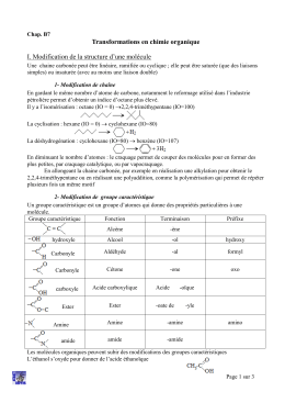 Transformations en chimie organique I. Modification de la structure d