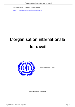 L`organisation internationale du travail