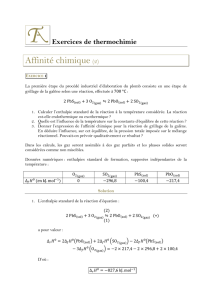 Exercices de thermochimie - Thierry Albertin