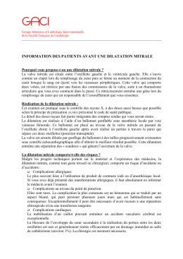 INFORMATION DES PATIENTS AVANT UNE DILATATION MITRALE