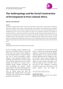 The Anthropology and the Social Construction of Development in