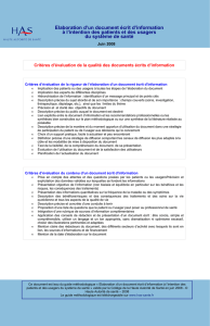 Elaboration document d`information des patients