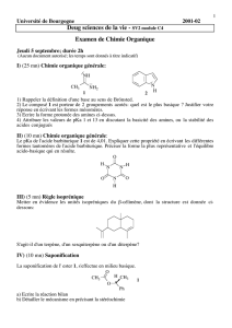 Deug sciences de la vie - sv2 module c4 examen de chimie organique