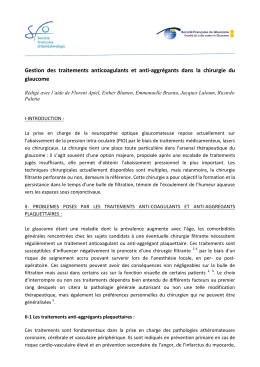 Gestion des traitements anticoagulants et anti