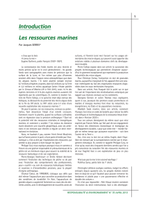 Introduction Les ressources marines