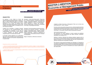 MASTER 2 MENTION Economie et Management Public
