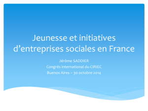 Jeunesse et initiatives d`entreprises sociale en France