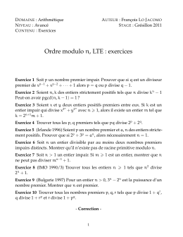 Ordre modulo n, LTE : exercices