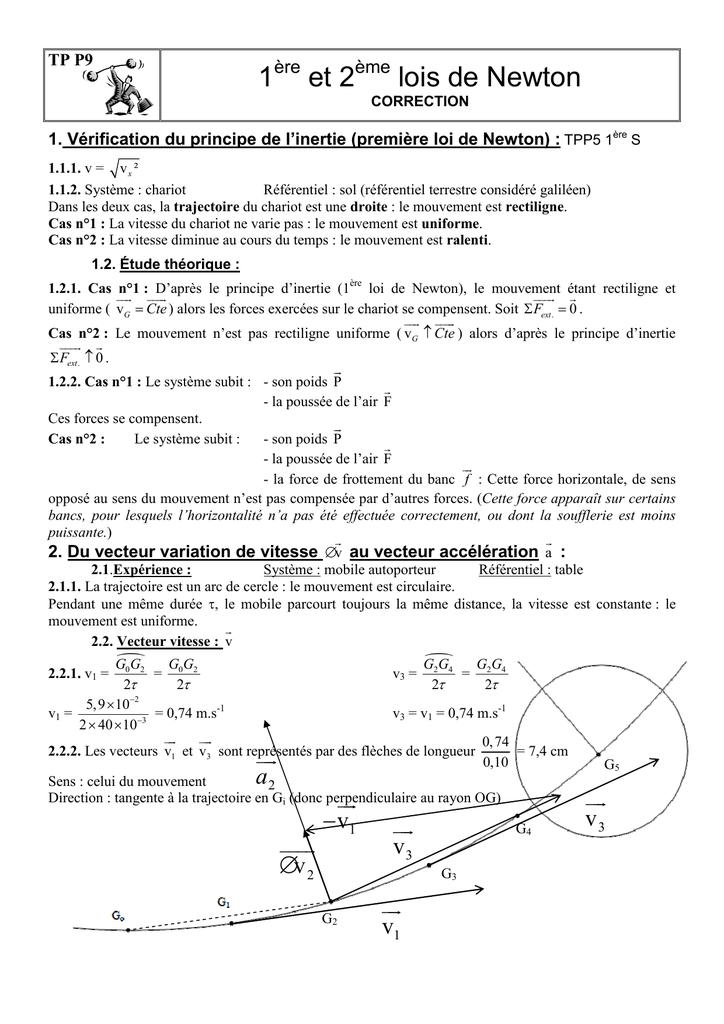 TP De la première à la deuxième loi de Newton. Vecteur